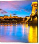 Budapest - Chain Bridge And Buda Castle -  Hungary Canvas Print