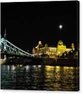 Budapest On The Danube At Night Canvas Print