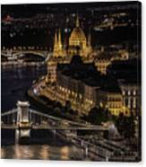 Budapest View At Night Canvas Print