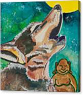 Buddha And The Divine Wolf No. 1370 Canvas Print