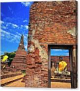 Buddha Doorway At Wat Worachetha Ram In Ayutthaya, Thailand Canvas Print