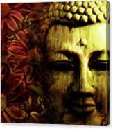 Buddha In Red Chrysanthemums Canvas Print
