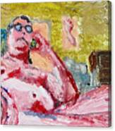 Buddha On The Phone One Of Four Canvas Print