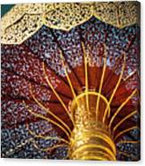 Buddhas Path To Enlightenment, Golden Umbrella Canvas Print
