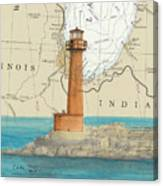 Buffington Harbor Lighthouse In Nautical Chart Map Canvas Print