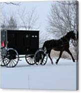 Buggy On Winter Road Canvas Print