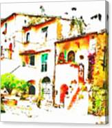 Buglimpse Of A Group Of Buildingsildings Canvas Print