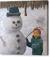 Building A Snowman  Canvas Print