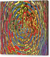 Building Of Circles And Waves Colored Yellow Red And Blue Canvas Print