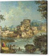 Buildings And Figures Near A River With Rapids Canvas Print
