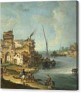 Buildings And Figures Near A River With Shipping Canvas Print