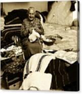 Bulgarian Market Lady Canvas Print
