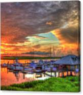 Bull River Marina Sunrise 2 Sunrise Art Canvas Print