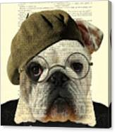Bulldog Portrait, Animals In Clothes Canvas Print