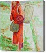 Bundled And Barefoot -- Portrait Of Old Asian Woman Outdoors Canvas Print