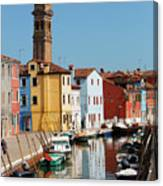 Burano An Island Of Multi Colored Homes On Canals North Of Venice Italy Canvas Print