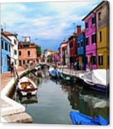 Burano Canal And Homes Canvas Print