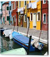 Burano Corner With Laundry Canvas Print
