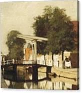 Burgwal Met De Hagebrug Te Haarlem Canvas Print
