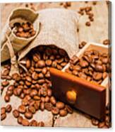 Burlap Bag Of Coffee Beans And Drawer Canvas Print