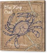 Burlap Blue Crab Canvas Print