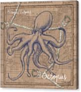 Burlap Octopus Canvas Print