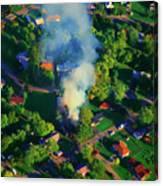 Burnin Down The House Aerial Single Family Home On Fire  Canvas Print