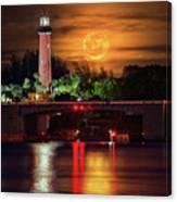 Burning Moon Rising Over Jupiter Lighthouse Canvas Print