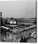 Busch Stadium From The East Garage Black And White Canvas Print