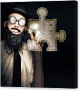 Businessman Puzzle Solving With Digital Solutions Canvas Print
