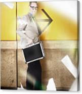 Businessman Walking In Direction Of Road Arrow Canvas Print