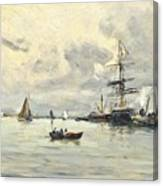 Bustling Activity In A Normandy Port Canvas Print