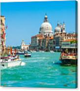 Busy Canal Grande In Venice Canvas Print