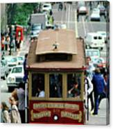 Busy Day On The California Street Cable Car Incline Canvas Print