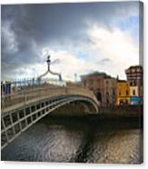 Busy Ha'penny Bridge 4 Canvas Print