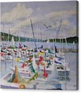 Busy Harbor Canvas Print