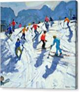 Busy Ski Slope Canvas Print