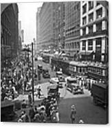 Busy State Street In Chicago Canvas Print