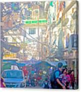 Busy Street In Central Marketplace In Rocinha Favela In Rio De Janeiro-brazil  Canvas Print