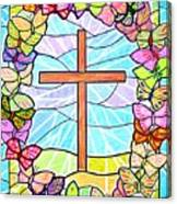 Butterflies And Cross Canvas Print