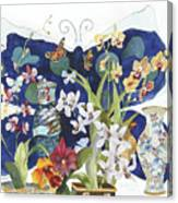 Butterflies And Orchids Canvas Print