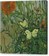 Butterflies And Poppies, 1890.  Canvas Print