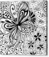 Butterfly And Flowers, Doodles Canvas Print