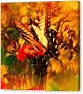 Butterfly Atop Flower Arrangement Canvas Print