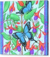 Butterfly Idyll-fuchsias Canvas Print