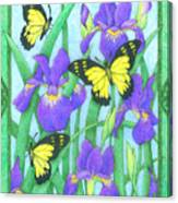Butterfly Idyll-irises Canvas Print