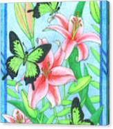 Butterfly Idyll- Lilies Canvas Print