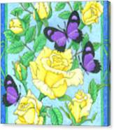 Butterfly Idyll-roses Canvas Print