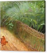 Butterfly In A Small Zen Sand Garden Canvas Print