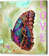 Butterfly In Beige And Teal Canvas Print